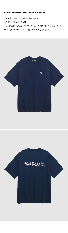 마크 곤잘레스(MARK GONZALES) 엔젤 와펜 반팔 티셔츠 네이비