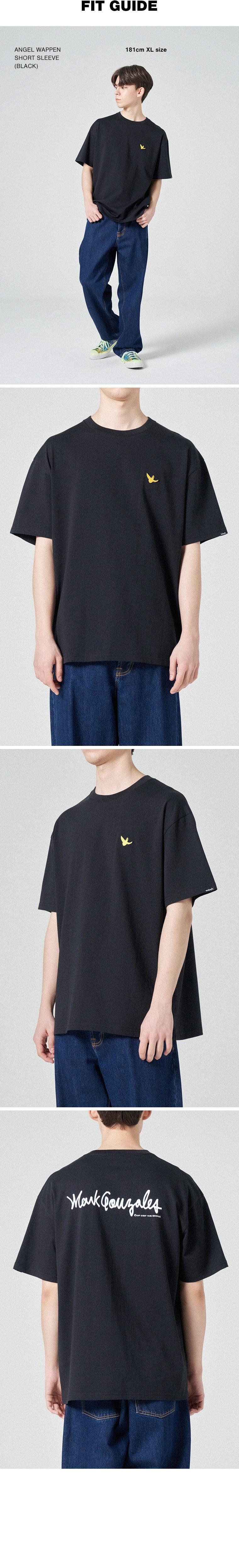 마크 곤잘레스(MARK GONZALES) 엔젤 와펜 반팔 티셔츠 블랙