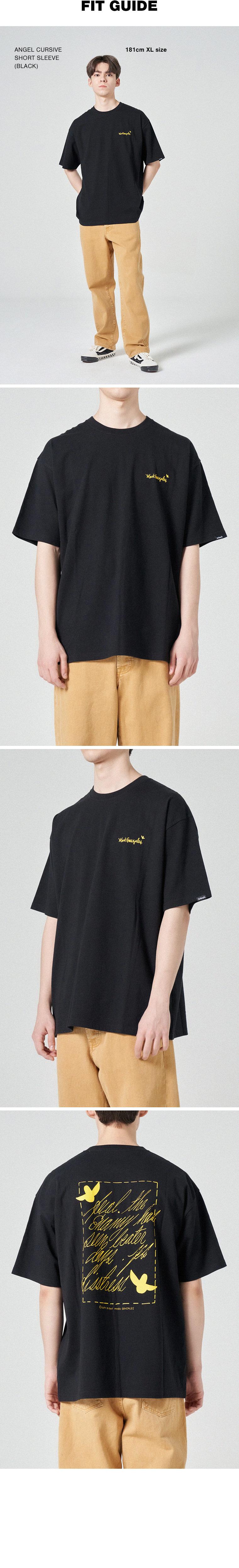 마크 곤잘레스(MARK GONZALES) 엔젤 커시브 반팔 티셔츠 블랙