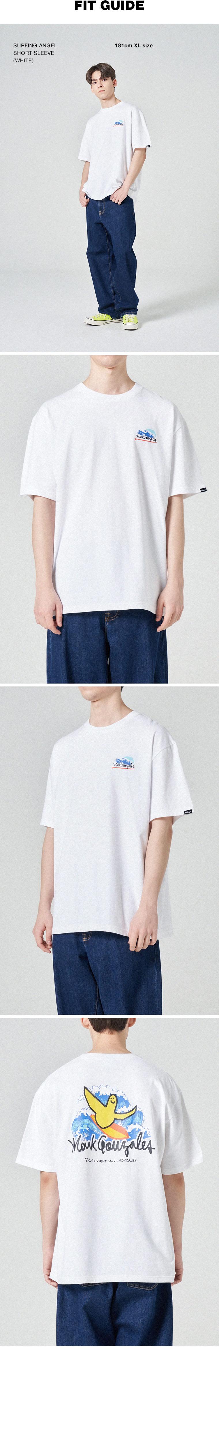 마크 곤잘레스(MARK GONZALES) 서핑엔젤 반팔 티셔츠 화이트