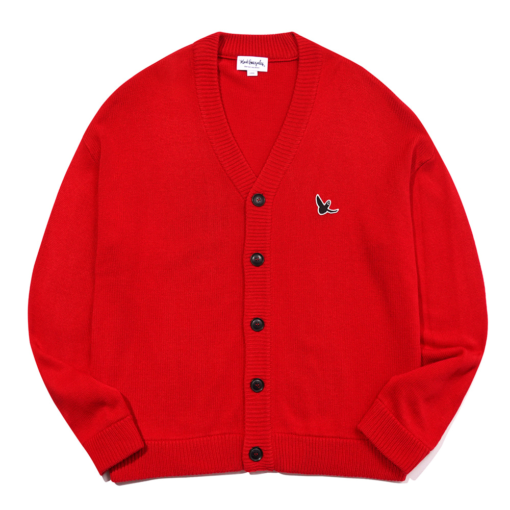 M/G ANGEL WAPPEN CARDIGAN CHERRY RED