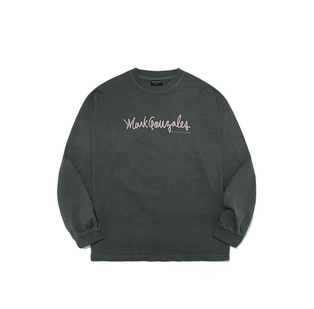 M/G PIGMENT SIGN LOGO LONG SLEEVE CHARCOAL