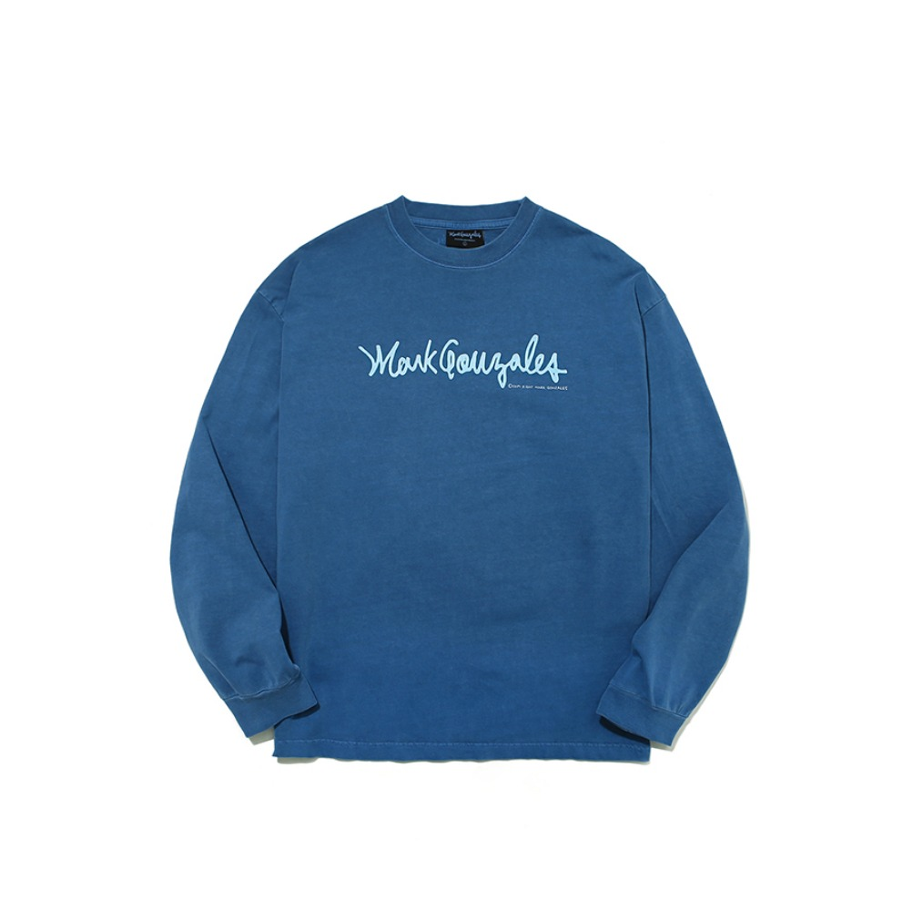 M/G PIGMENT SIGN LOGO LONG SLEEVE BLUE